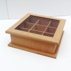 Caja de Te tapa de Vidrio 4 divisiones